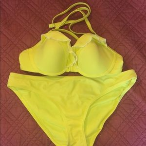Bright yellow ruffle aerie bikini